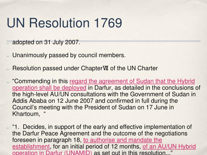 UN Resolution 1769