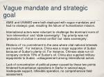 vague mandate and strategic goal