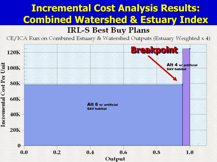 Incremental Cost Analysis Results:  Combined Watershed & Estuary Index