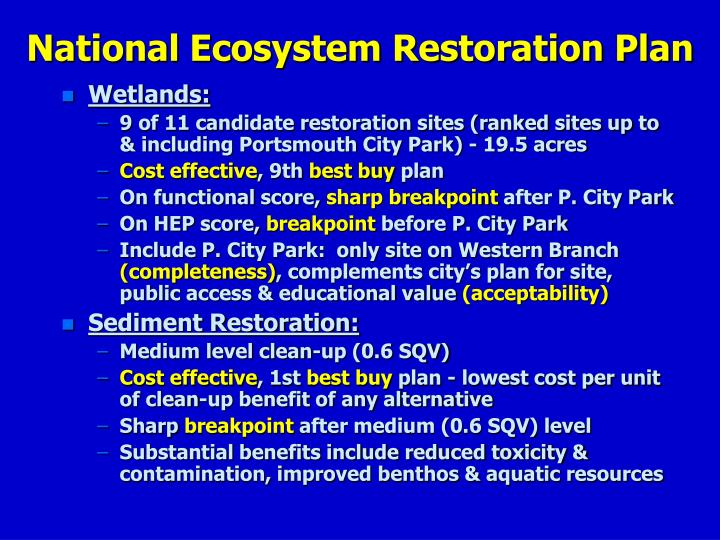 National Ecosystem Restoration Plan