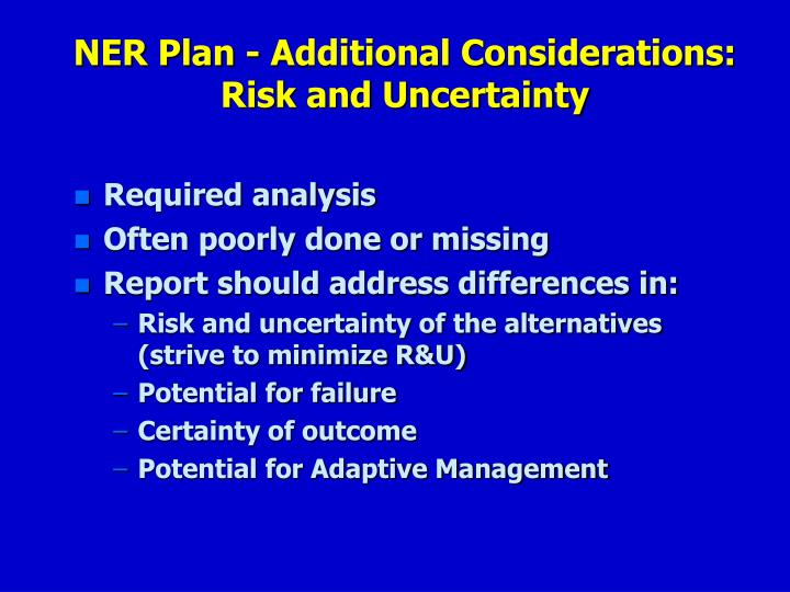 NER Plan - Additional Considerations: