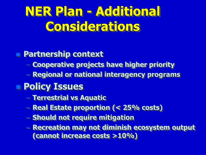 NER Plan - Additional Considerations