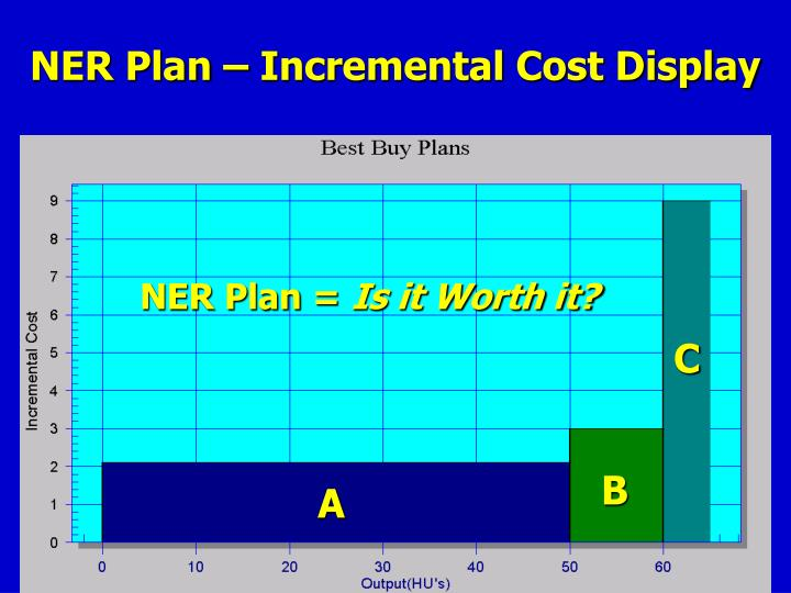 NER Plan – Incremental Cost Display