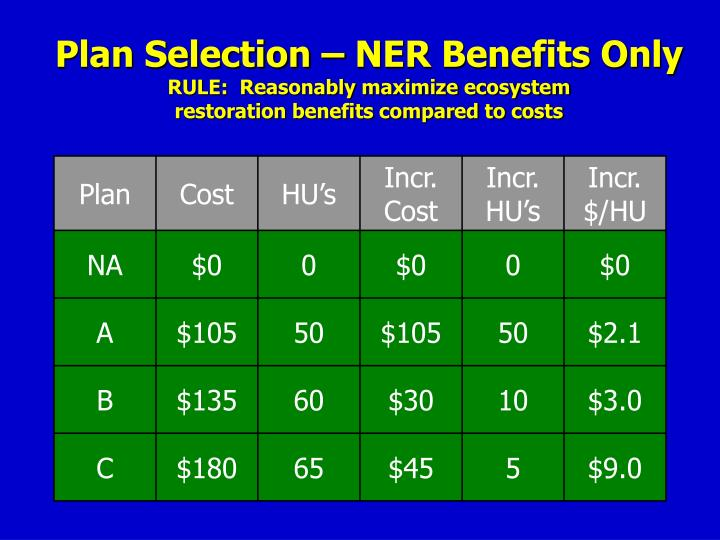 Plan Selection – NER Benefits Only