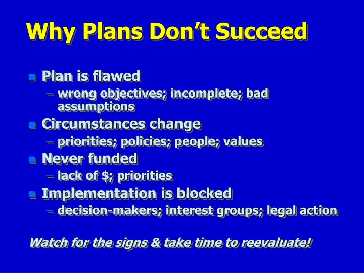 Why Plans Don't Succeed