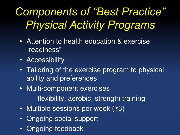 "Components of ""Best Practice"" Physical Activity Programs"