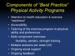 components of best practice physical activity programs