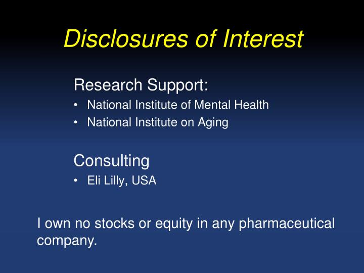 Disclosures of interest