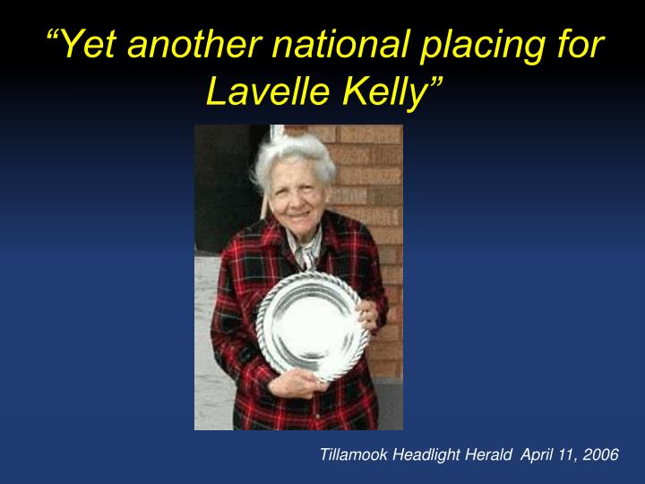 Yet another national placing for lavelle kelly