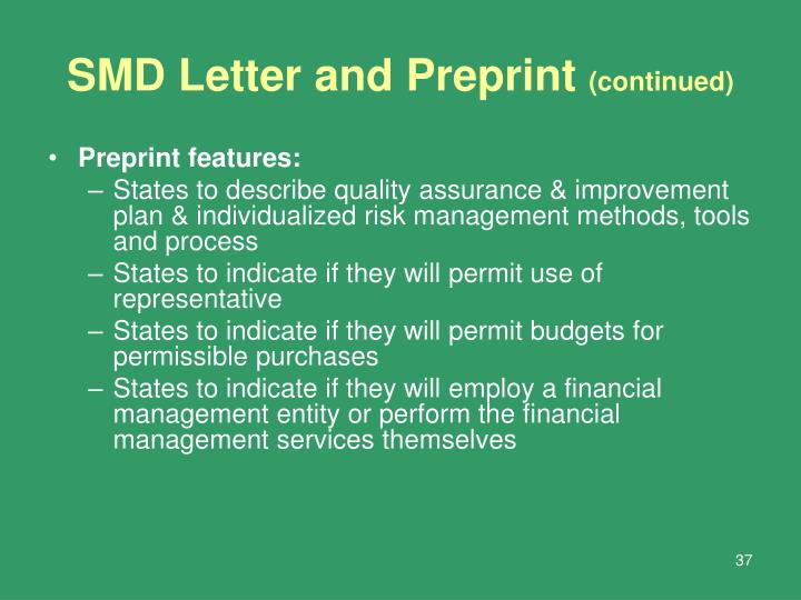 SMD Letter and Preprint