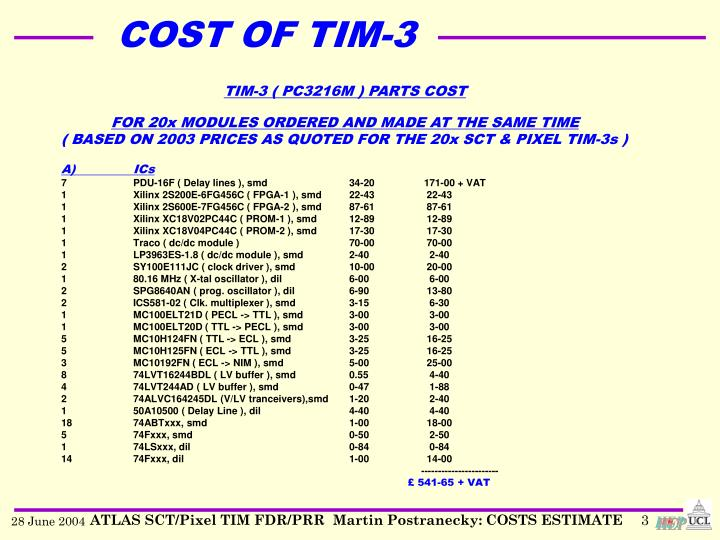 Cost of tim 31