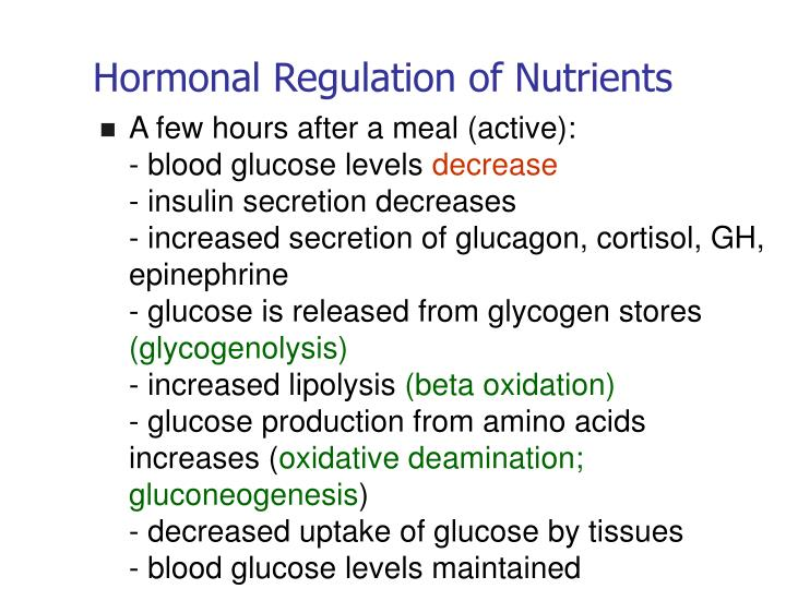 Hormonal Regulation of Nutrients