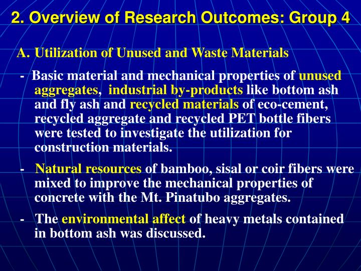 2. Overview of Research Outcomes: Group 4