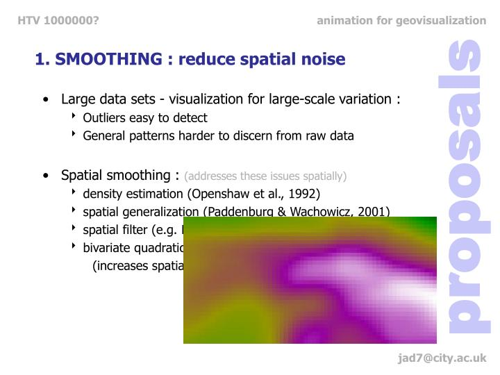 1. SMOOTHING : reduce spatial noise