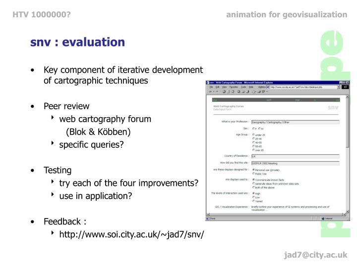 snv : evaluation