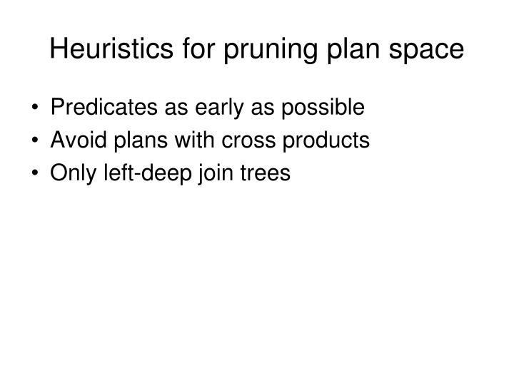 Heuristics for pruning plan space