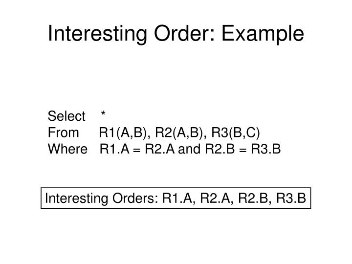 Interesting Order: Example