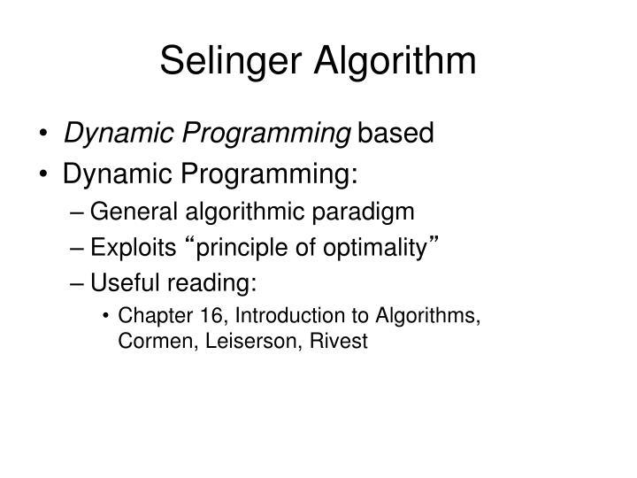 Selinger Algorithm