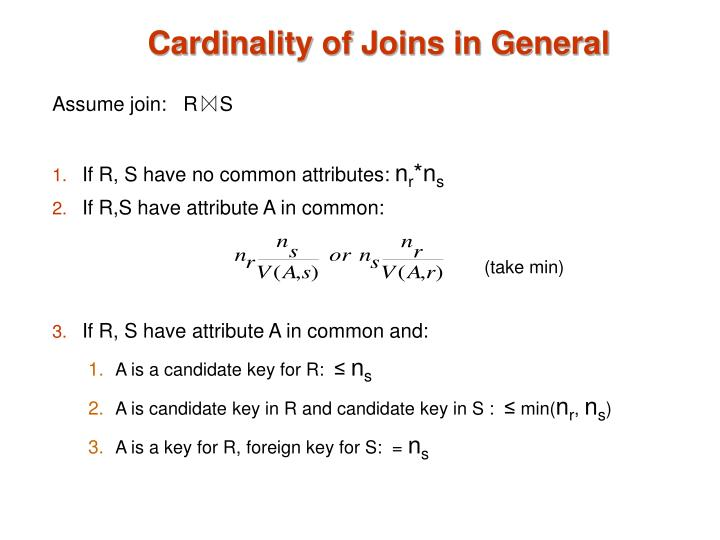 Cardinality of Joins in General