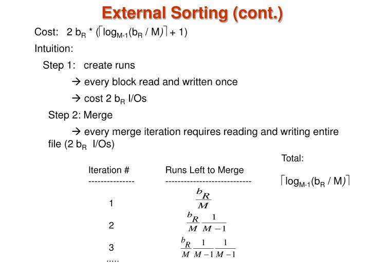 External Sorting (cont.)
