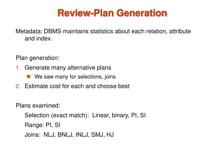 Review-Plan Generation