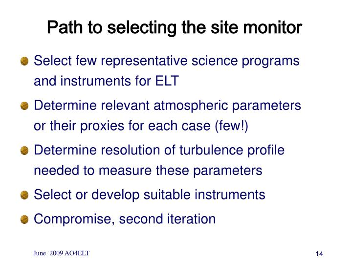 Path to selecting the site monitor