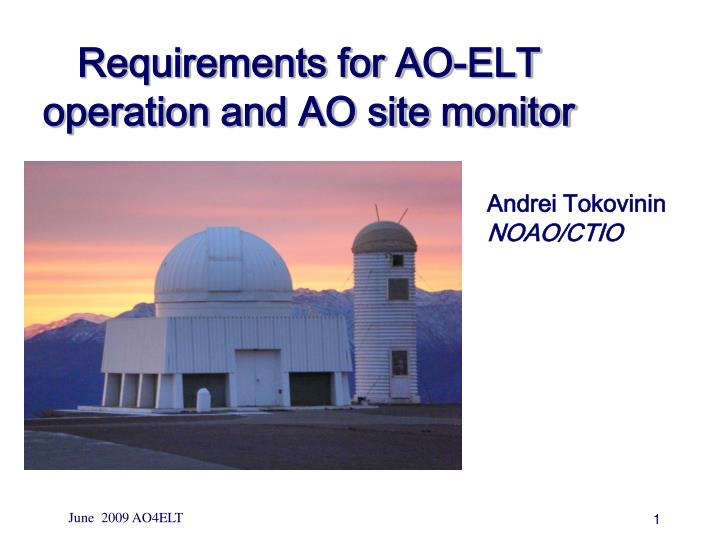 Requirements for AO-ELT