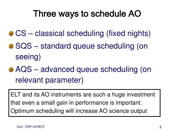 Three ways to schedule AO