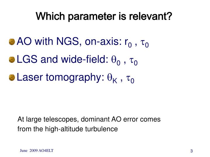 Which parameter is relevant