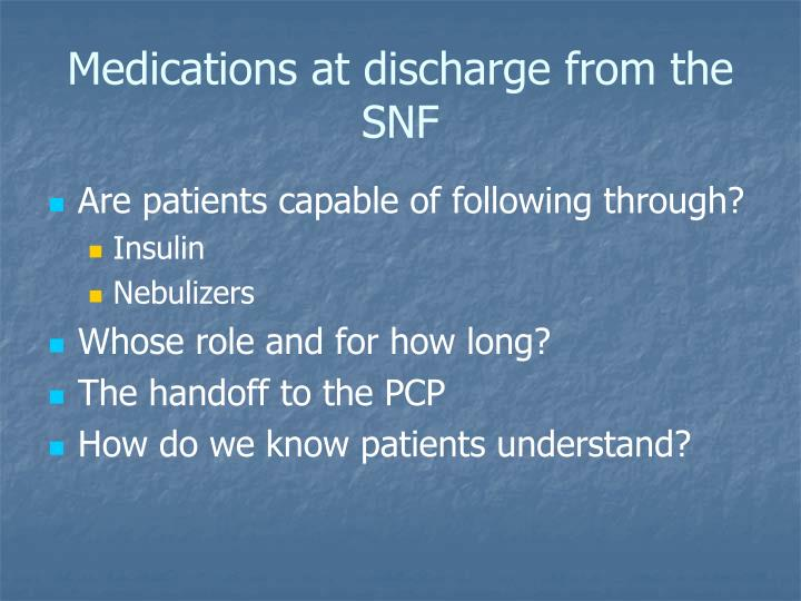 Medications at discharge from the SNF