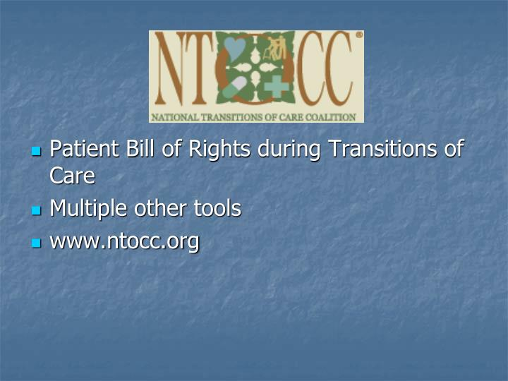 Patient Bill of Rights during Transitions of Care