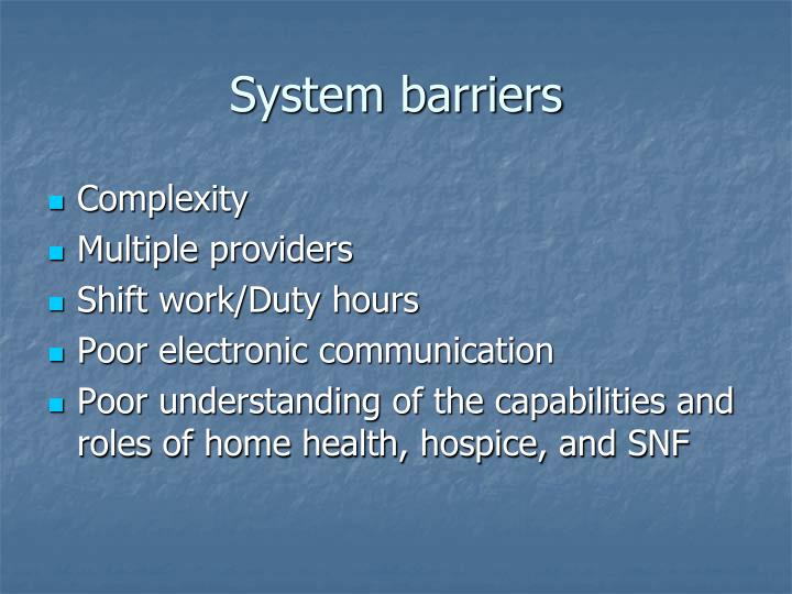 System barriers