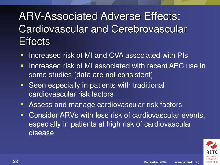 Increased risk of MI and CVA associated with PIs