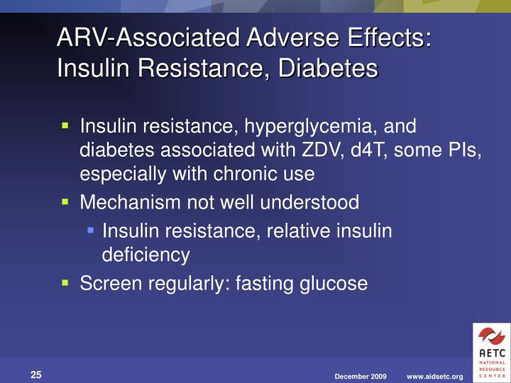 ARV-Associated Adverse Effects: Insulin Resistance, Diabetes