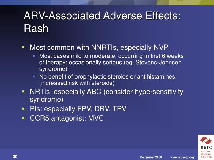 ARV-Associated Adverse Effects: Rash