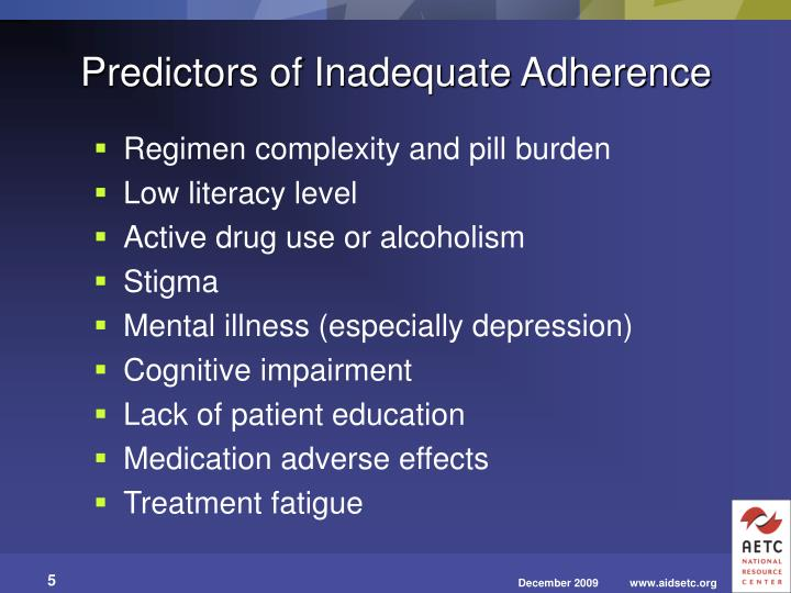 Predictors of Inadequate Adherence