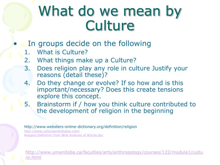 What do we mean by Culture