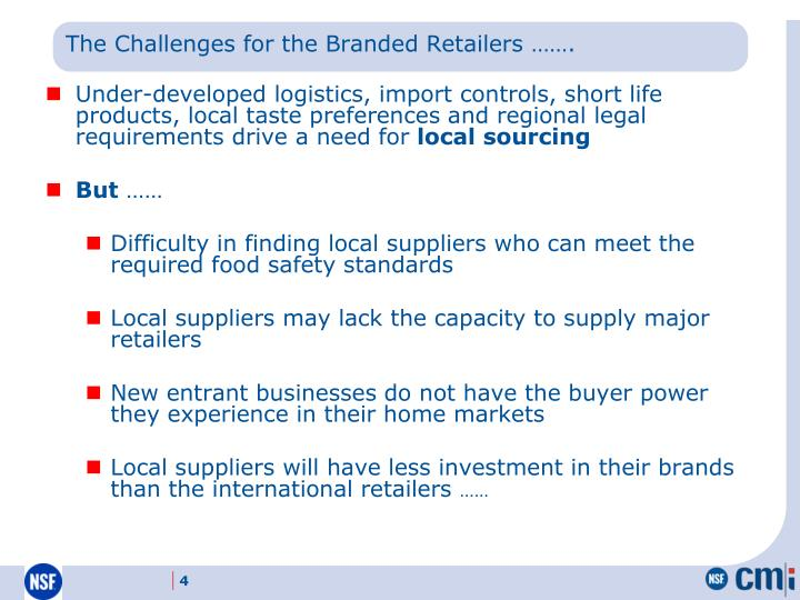 The Challenges for the Branded Retailers …….