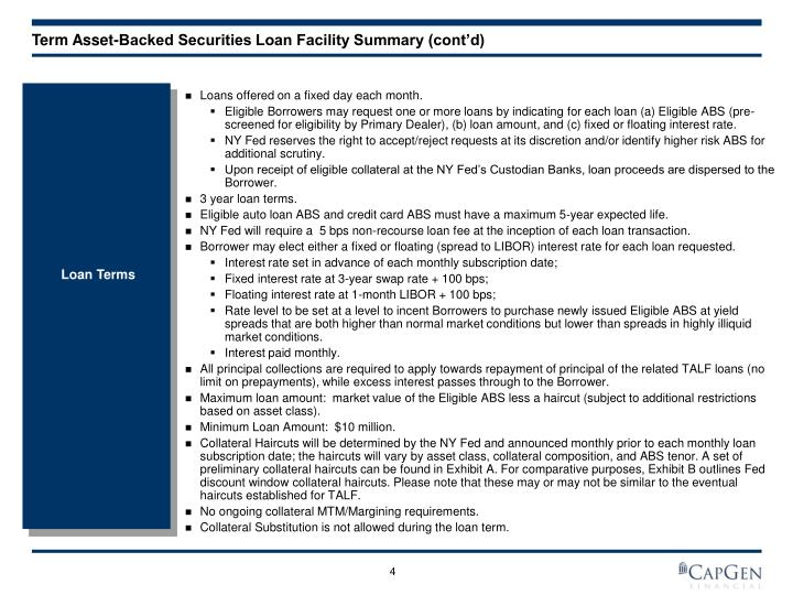 Term Asset-Backed Securities Loan Facility Summary (cont'd)