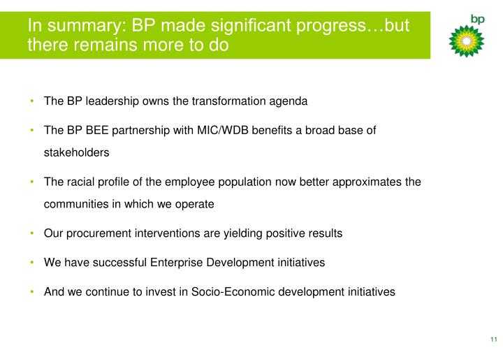 In summary: BP made significant progress…but there remains more to do