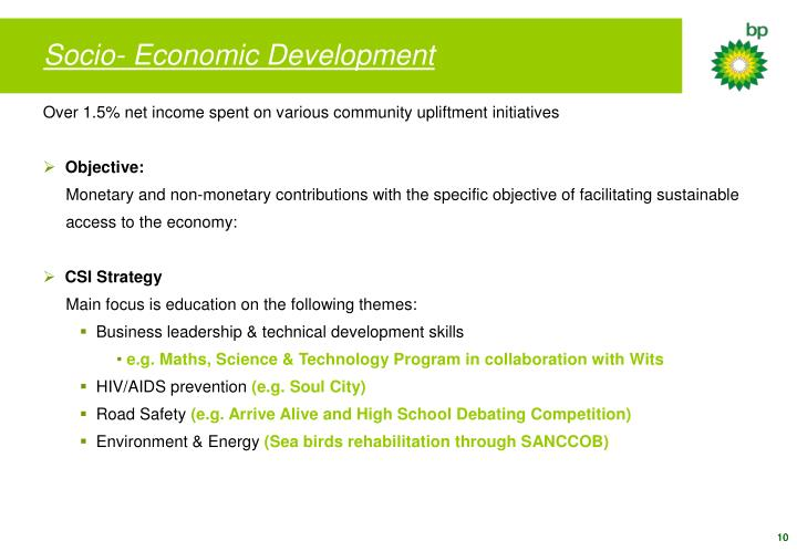 Socio- Economic Development