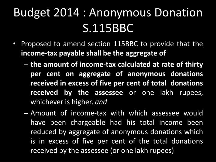 Budget 2014 : Anonymous Donation