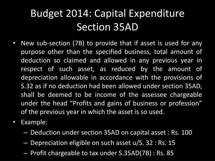 Budget 2014: Capital Expenditure