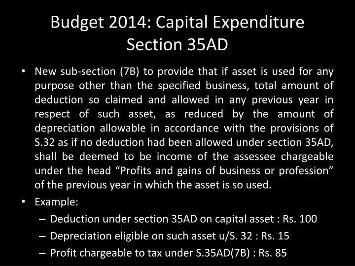 Budget 2014: Capital Expenditure