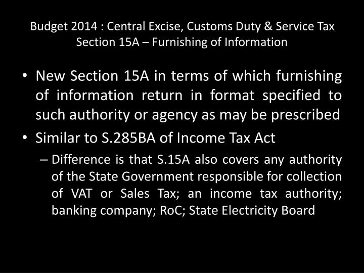 Budget 2014 : Central Excise, Customs Duty & Service Tax
