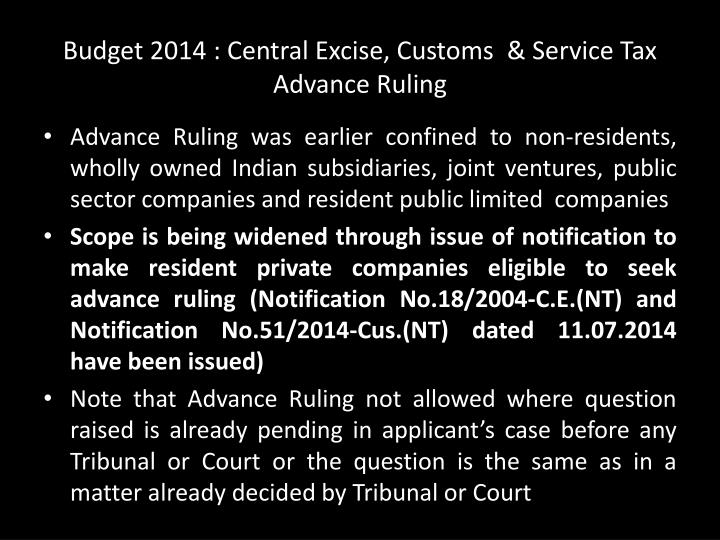 Budget 2014 : Central Excise, Customs  & Service Tax