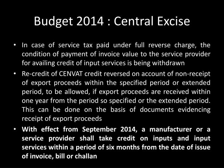 Budget 2014 : Central Excise