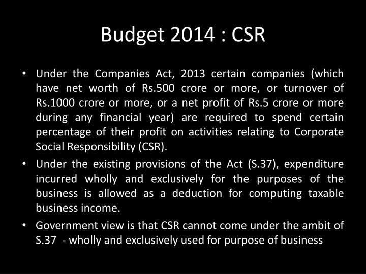 Budget 2014 : CSR