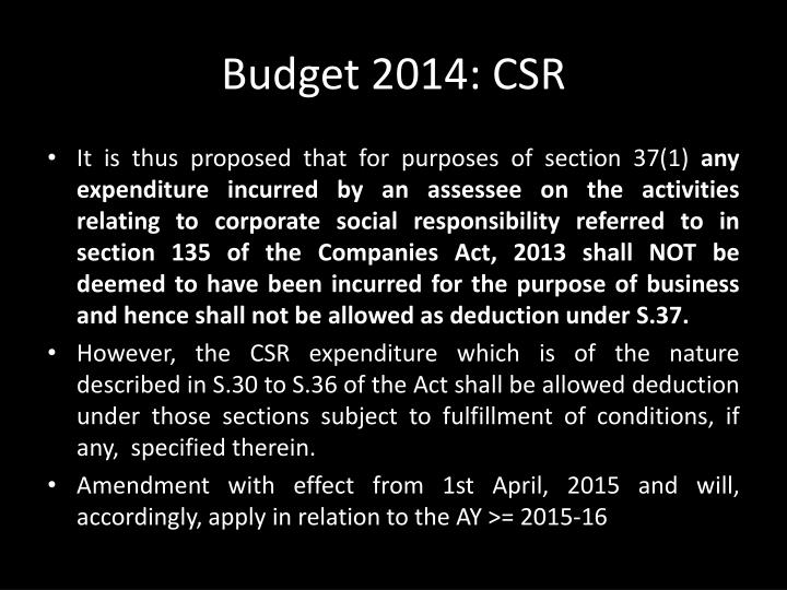 Budget 2014: CSR