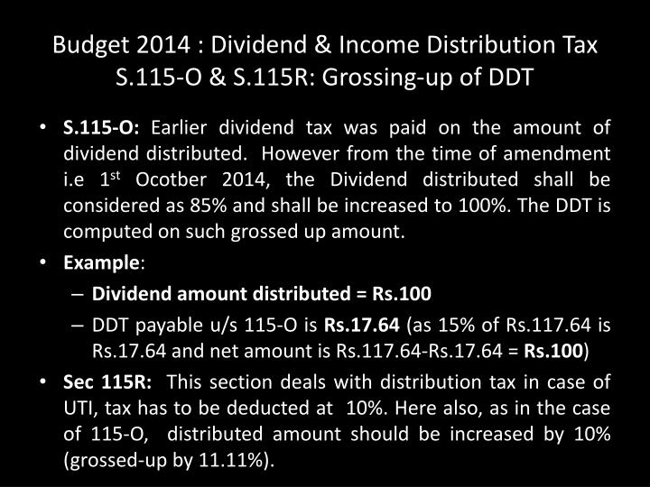 Budget 2014 : Dividend & Income Distribution Tax